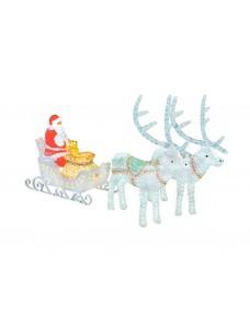 Световая фигура Дед Мороз с двумя оленями 115 см