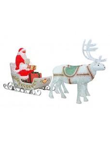 Световая фигура Дед Мороз с двумя оленями